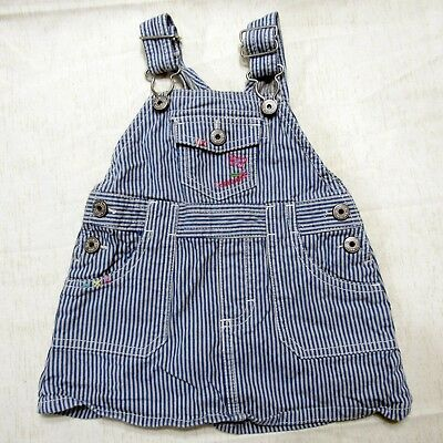 OshKosh Bgosh Baby Denim Overalls 12 Months Stripes Vestbak Skirt
