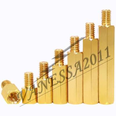 M2.5 2.5mm Brass Standoff Spacer Male x Female Thread 6mm 10-50Pcs