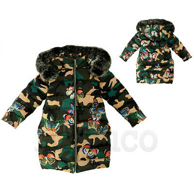 Girls Cotton Padded Fur Hooded Kids Camouflage Parka Butterfly Thick Jacket Coat