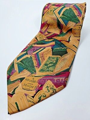 HUGO BOSS made in ITALY Silk Tie Mens NWOT Gold Green Blue Purple Books Necktie