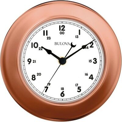 Bulova Wall Clock 8 in Metal Plated Polished Copper Shatterproof 3 Piece New