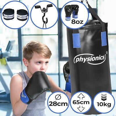 Kinder Boxsack Set Sandsack Kit Boxhandschuhe Punching Bag Ø28 cm H65 cm 10kg
