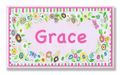 The Kids Room by Stupell Grace, Pink and Green Border with Flowers Personalized