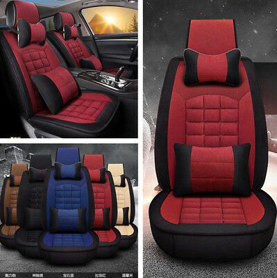 Full Set Red Warm Plush Car Seat Cover Cushion Protector with Pillows for Winter