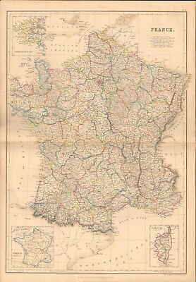 1860 ca Antique Map- France , including Corsica, France in provinces