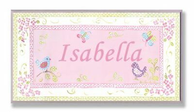 The Kids Room by Stupell Isabella, Pink and Green Chickadees Personalized Wall