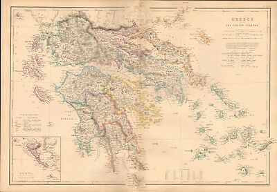 1860 ca Antique Map- W Hughes - Greece and the Ionian Islands, Corfu