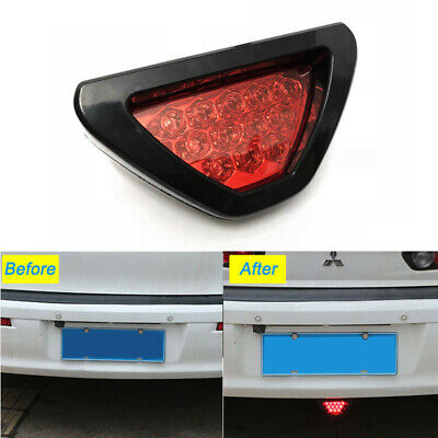 12V Car Sporty F1 Style Triangle 12LED Rear Stop Tail Third Brake Light Lamp RED