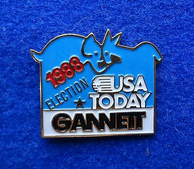 USA Today Gannett Newspaper '88 President Bush Dukakis Elephant Donkey Media Pin