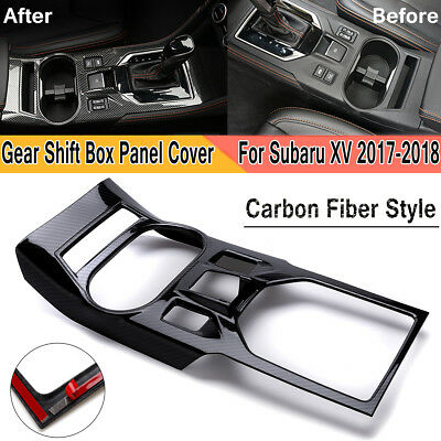 Carbon Fiber Style Gear Shift Panel Cover Trim For Subaru Crosstrek XV 2017 2018