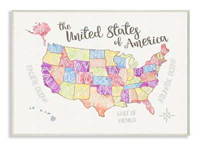 Stupell Home Décor United States US Map Water Color Wall Plaque Art, 10 x 0.5 x