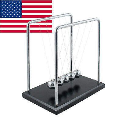 US Large Newtons Cradle Office Desk Toy Kenetic Educational Gravity Balance Ball