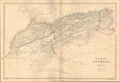 1860 ca Antique Map- Edward Weller - Africa, Morocco, Algeria and Tunis