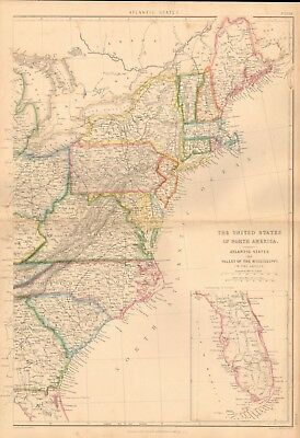 1860 ca Antique Map- J W Lowry - The USA - Atlantic States,Valley of Mississippi