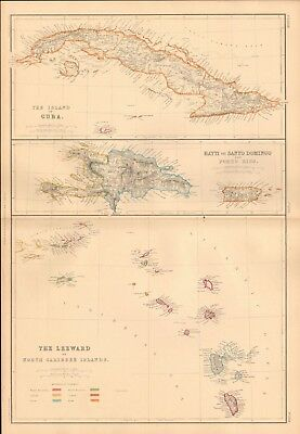 1860 ca Antique Map- J W Lowry - Cuba, Haiti, Leeward Islands