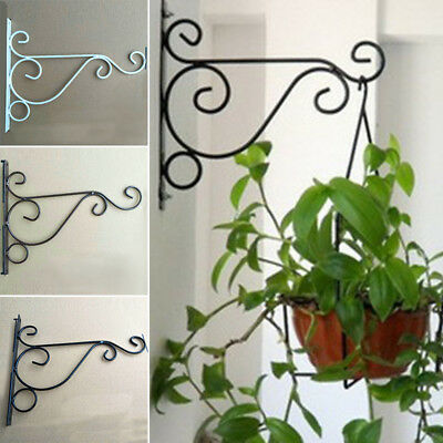 Iron Wall Hanging Bracket Art Plant Holder Hanger Hook Home Garden Decoration #