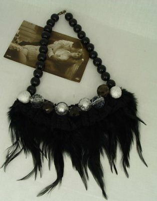 Vintage necklace costume neck jewellery 1920s artificial pearls & feathers new