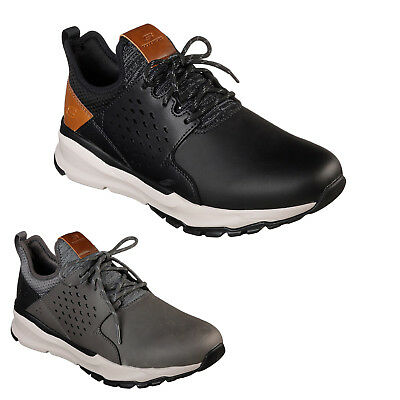 Skechers Relven Hemson Coated Leather Lace-Up Sneakers Mens Trainers