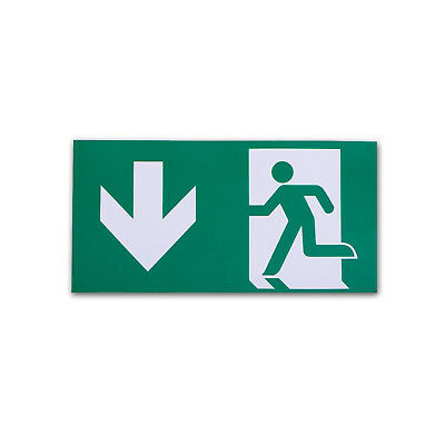 Straight Down to Left Arrow Exit Sign For Emergency Exit Sign Fixture (Adhesive)