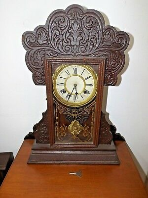 Antique Gingerbread Mantle Clock WATERBURY HENSHAW Ornate Case Runs Great!