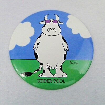 Large Boynton Pin Back Button Udder Cool Humorous Cow Sunglasses Easel 6 Inch