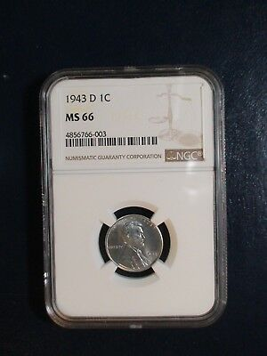 1943 D Lincoln Wheat Cent NGC MS66 GEM STEEL 1C Penny Coin PRICED TO SELL!