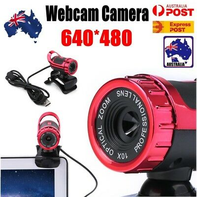 12 Megapixel HD USB Camera Webcam 360° MIC Clip-on for Computer Laptop PC Red