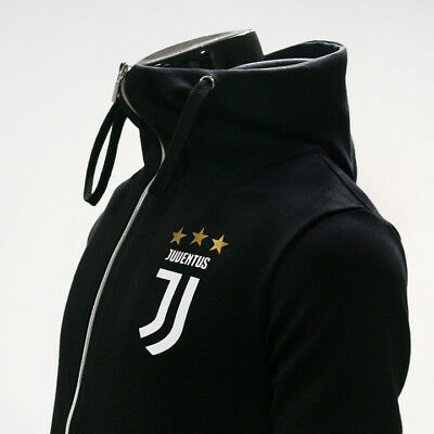 Juventus Full Zip Hoodie Soccer Team Jacket Turtleneck Hooded Outer Black