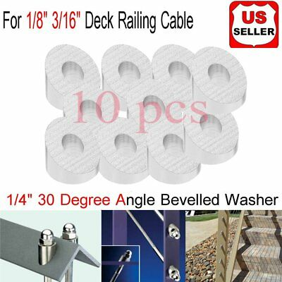 """10X Stainless Steel 30 Degree Angled Beveled Washer for 1/8"""" 3/16"""" Cable Railing"""