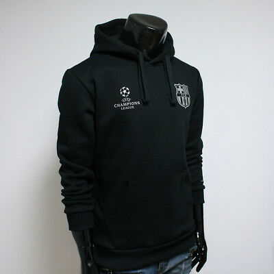FC BARCELONA Hoodie Fleece Men's Hooded Soccer Team Black FCB Sweatshirts