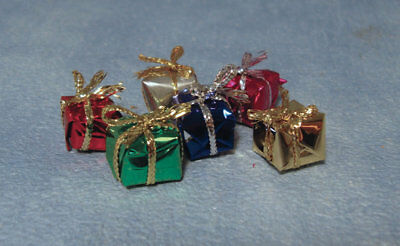 Christmas Or Birthday Presents 6 Pack - 1cm, Dolls House Miniatures, Tiny Small