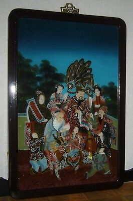 Antique Chinese Feng Shui Gods Of Wealth Ful Luk Sau Reverse Painting On Glass