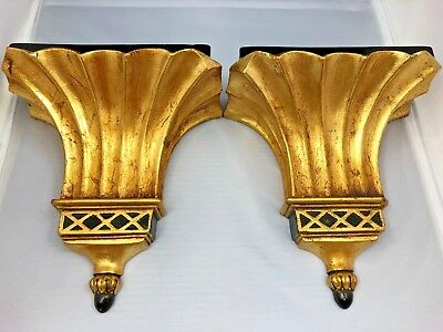 """Antique Pair of Borghese Gold & Black Corbels 7.5"""" x 8.5"""""""