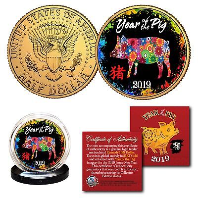 2019 Lunar New YEAR OF THE PIG 24K Gold Plated JFK Half Dollar Coin Polychrome