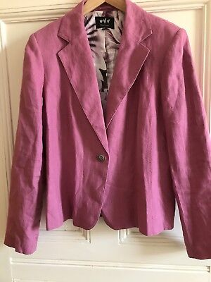 PER UNA PINK LINEN FLORAL LINED TAILORED JACKET SIZE 14 Bnwot