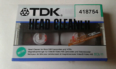 TDK Head Cleaner Tape / Cassette for 8mm / Hi8 Camcorders & VCRs - New & Sealed