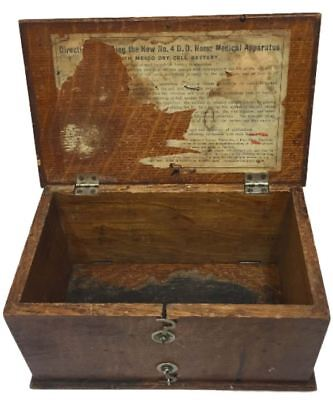 1800s Home Medical Apparatus Box Solid Wood Oak No 4 DD Battery Operated Antique