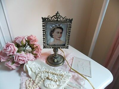 Shabby Vtg.  Jeweled Lighted  Metal Lithopane Frame W/ Queen Elizabeth Photo &&