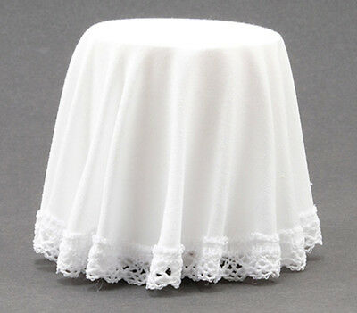Dollhouse Miniature Skirted Side Table in White with Lace ~ CB125W