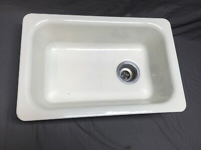 Vtg Mid Century Cast Iron White Porcelain Drop In Single Basin Sink Old  475-18E