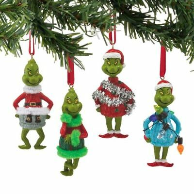 Dept 56 Dr Seuss Grinch In Ugly Sweater Ornament Set of 4 #4052908