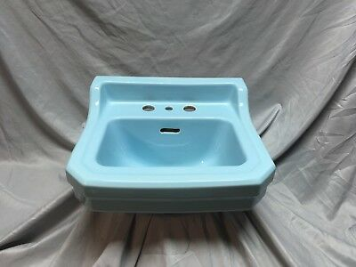 Small Vtg Mid Century Ceramic Powder Blue Porcelain Bath Sink Old Gerber 478-18E