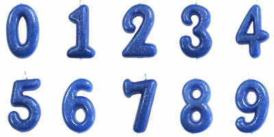 "Blue Glitter Birthday /Anniversary Cake Candles 7 cm /(2.7"") Numbers 0-9"
