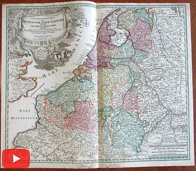 Holland Netherlands Provinces Luxembourg Low Countries c.1720 old color map