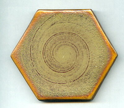 """Hand painted, lustre glazed 3"""" hexagonal tile by Alan Caiger Smith, 1976"""