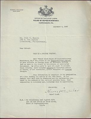 Capo Clerk Of The House Of Representatives, Harrisburg, The 1939 House, Lettera