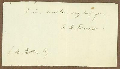 Alexander Hill Everett, US Diplomat, Brother of Edward everett, Signature, COA