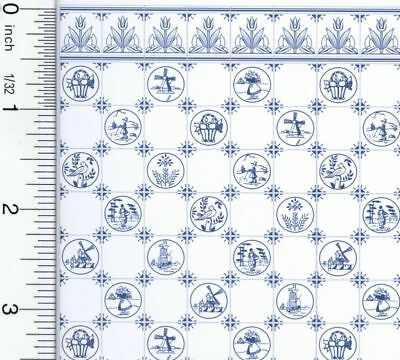 Dollhouse Blue Dutch Tile Design Wallpaper