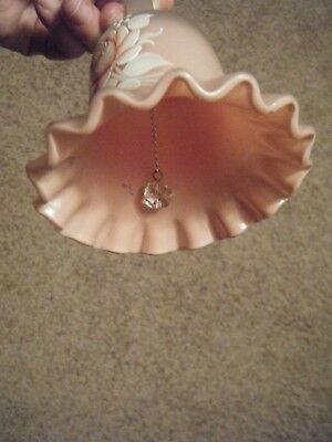 Beautiful Bell Pink Frosted Glass  With Hand Painted Rose