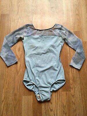 Eleve Custom Ballet Leotard Light Blue With Cloudy Mesh Back Size Small